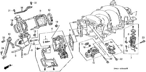 1995 LEGEND L*(MOQUETTE) 4 DOOR 5MT THROTTLE BODY diagram