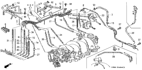 1992 LEGEND LS 4 DOOR 5MT INSTALL PIPE - TUBING diagram