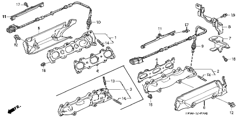 1994 LEGEND L*(MOQUETTE) 4 DOOR 5MT EXHAUST MANIFOLD diagram