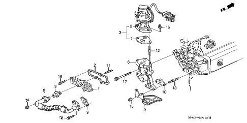1994 LEGEND L*(MOQUETTE) 4 DOOR 5MT EGR VALVE diagram