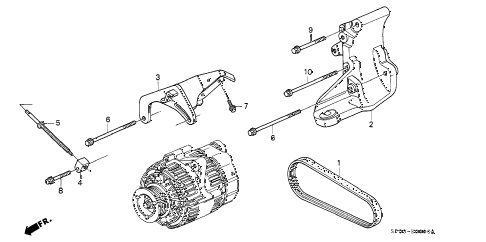 1991 LEGEND STD 4 DOOR 5MT ALTERNATOR BRACKET diagram