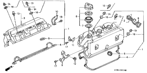 1993 LEGEND LS 4 DOOR 5MT CYLINDER HEAD COVER diagram