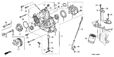 1995 LEGEND L 4 DOOR 4AT OIL PUMP - OIL STRAINER diagram