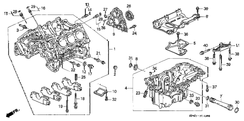 1993 LEGEND L*(MOQUETTE) 4 DOOR 5MT CYLINDER BLOCK - OIL PAN diagram