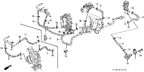 1994 LEGEND L 4 DOOR 4AT WATER HOSE diagram