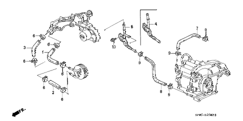 1994 LEGEND L 4 DOOR 5MT OIL COOLER HOSE diagram
