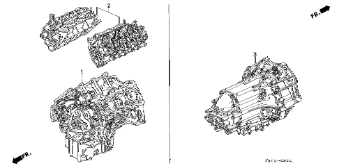 1995 LEGEND L 4 DOOR 5MT ENGINE ASSY. - TRANSMISSION ASSY. - DIFFERENTIAL ASSY. diagram