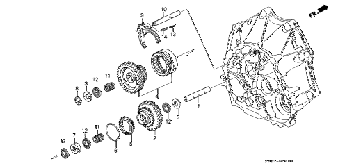 1993 LEGEND LS 4 DOOR 5MT MT REVERSE GEAR SHAFT diagram