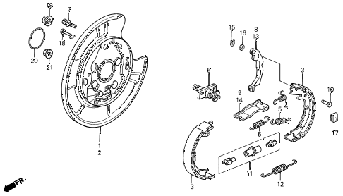1993 LEGEND L 2 DOOR 6MT PARKING BRAKE SHOE diagram