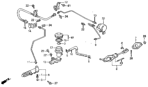 1992 LEGEND LS 2 DOOR 5MT CLUTCH MASTER CYLINDER diagram