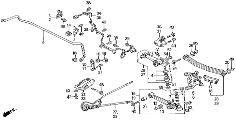 1995 LEGEND L 2 DOOR 6MT REAR LOWER ARM diagram