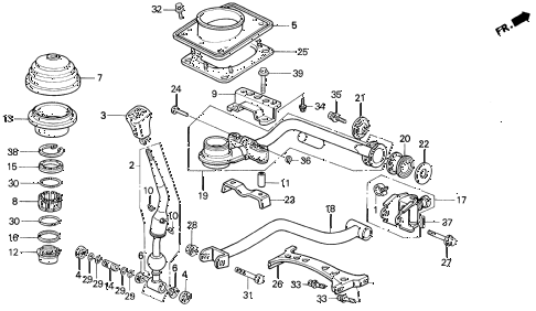 1993 LEGEND L 2 DOOR 6MT MT SHIFT LEVER diagram