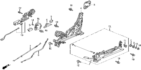 1992 LEGEND L 2 DOOR 4AT RIGHT FRONT SEAT COMPONENTS (L*,L) diagram