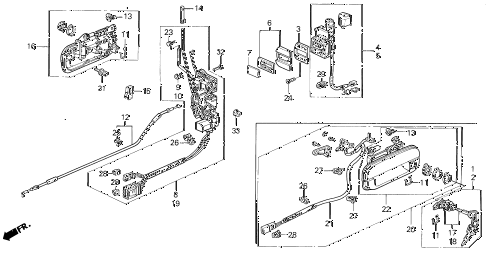1995 LEGEND L 2 DOOR 6MT FRONT DOOR LOCKS diagram