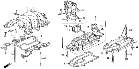 1991 LEGEND L 2 DOOR 5MT INTAKE MANIFOLD diagram