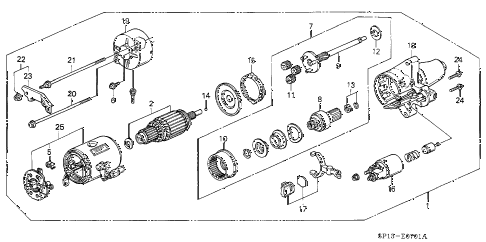 1992 LEGEND L 2 DOOR 5MT STARTER MOTOR (MITSUBISHI) diagram