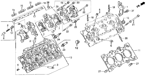 1992 LEGEND L*MOQUETTE 2 DOOR 5MT CYLINDER HEAD (R.) diagram