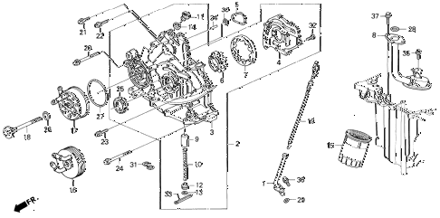 1991 LEGEND L 2 DOOR 5MT OIL PUMP - OIL STRAINER diagram