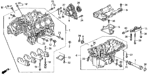 1994 LEGEND LS 2 DOOR 4AT CYLINDER BLOCK - OIL PAN diagram