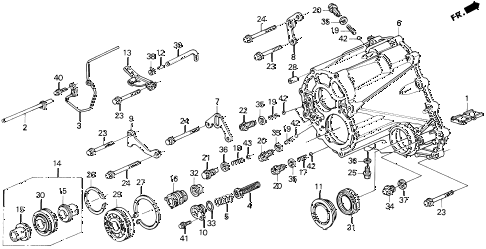 1993 LEGEND LS 2 DOOR 6MT MT TRANSMISSION HOUSING diagram