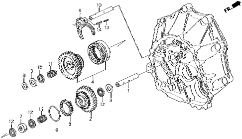 1992 LEGEND L 2 DOOR 5MT MT REVERSE GEAR SHAFT diagram