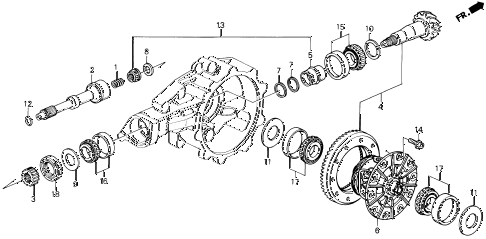 1993 LEGEND L 2 DOOR 6MT MT DIFFERENTIAL GEAR diagram