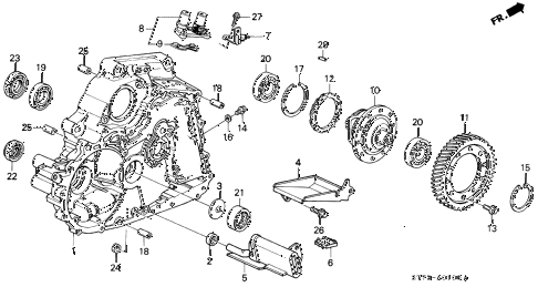 1995 INTEGRA RS 3 DOOR 4AT AT TORQUE CONVERTER HOUSING (1) diagram