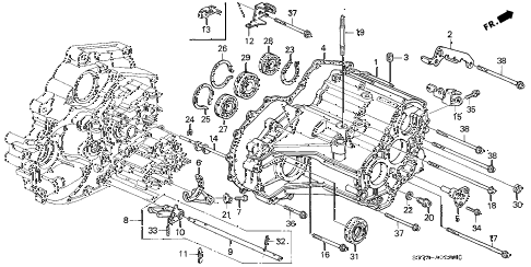 1996 INTEGRA LS 3 DOOR 4AT AT TRANSMISSION HOUSING (1) diagram
