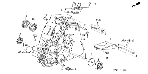 2000 INTEGRA LS 3 DOOR 4AT AT TORQUE CONVERTER HOUSING (2) diagram