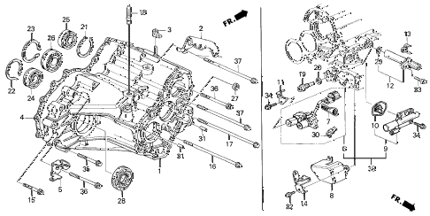 2001 INTEGRA LS 3 DOOR 4AT AT TRANSMISSION HOUSING (2) diagram