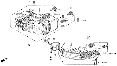 1997 INTEGRA RS 3 DOOR 5MT HEADLIGHT - FRONT COMBINATION LIGHT diagram