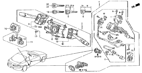 1998 INTEGRA LS 3 DOOR 4AT COMBINATION SWITCH diagram