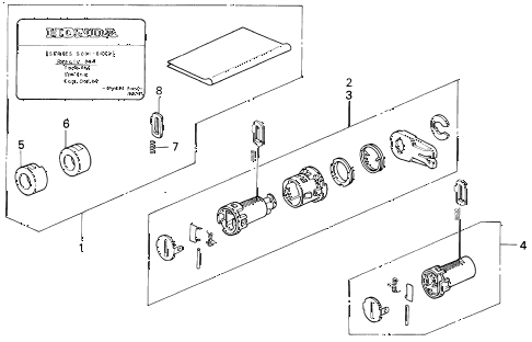 1999 INTEGRA RS 3 DOOR 4AT KEY CYLINDER KIT diagram