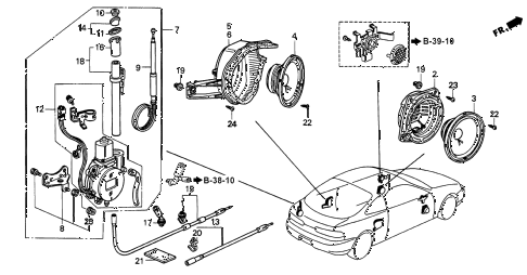 1999 INTEGRA LS 3 DOOR 4AT RADIO ANTENNA - SPEAKER diagram
