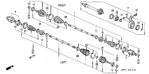 1994 INTEGRA LS 3 DOOR 4AT DRIVESHAFT (1) diagram