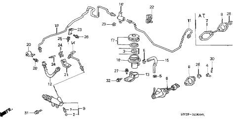 1995 INTEGRA GS-R 3 DOOR 5MT CLUTCH MASTER CYLINDER diagram