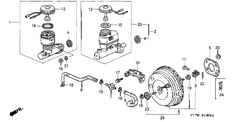 1997 INTEGRA LS 3 DOOR 4AT BRAKE MASTER CYLINDER diagram