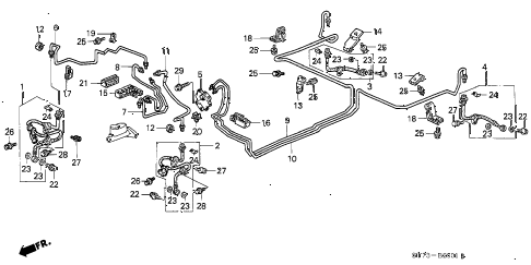 1999 INTEGRA RS 3 DOOR 4AT BRAKE LINES (2) diagram