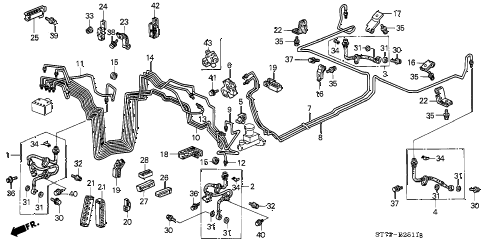 2000 INTEGRA TYPE-R 3 DOOR 5MT BRAKE LINES (ABS) diagram