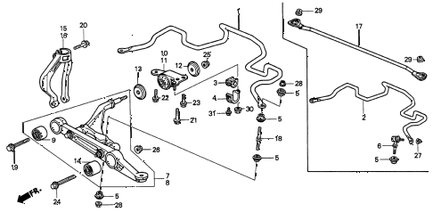 1995 INTEGRA LS 3 DOOR 4AT FRONT LOWER ARM diagram