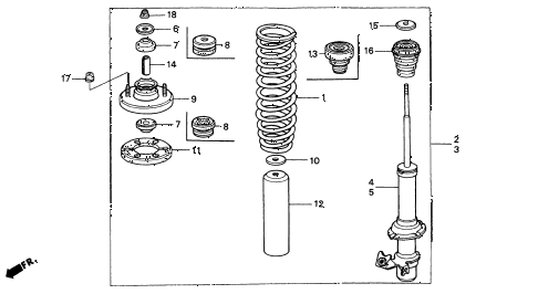 1995 INTEGRA LS 3 DOOR 4AT FRONT SHOCK ABSORBER diagram