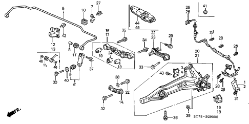 2001 INTEGRA TYPE-R 3 DOOR 5MT REAR LOWER ARM diagram