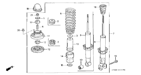 2000 INTEGRA LS 3 DOOR 5MT REAR SHOCK ABSORBER diagram