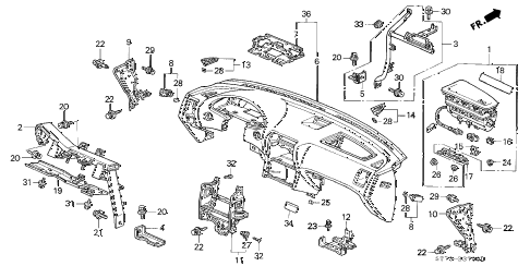 1997 INTEGRA LS 3 DOOR 5MT INSTRUMENT PANEL diagram
