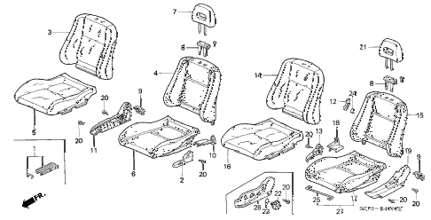 1996 INTEGRA GS-R 3 DOOR 5MT FRONT SEAT diagram