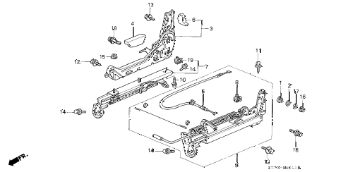 1994 INTEGRA RS 3 DOOR 5MT RIGHT FRONT SEAT COMPONENTS diagram