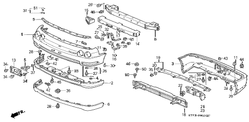 1994 INTEGRA LS 3 DOOR 4AT BUMPER (1) diagram