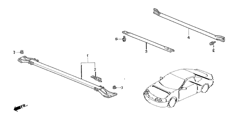 1997 INTEGRA TYPE-R 3 DOOR 5MT FRONT TOWER BAR  - PERFORMANCE ROD diagram