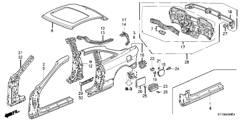 1999 INTEGRA LS 3 DOOR 5MT OUTER PANEL diagram