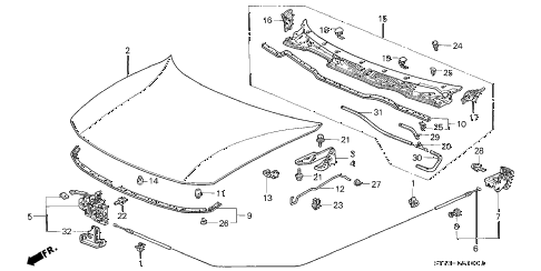 1998 INTEGRA RS 3 DOOR 5MT ENGINE HOOD diagram